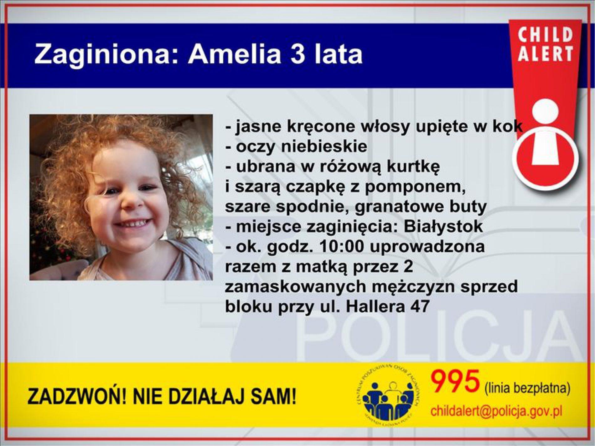 Policja poszukuje 3 – letniej Amelii  i jej mamy
